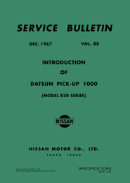 Service Bulletin - Vol. 88 - Introduction of Datsun Pick-up 1000