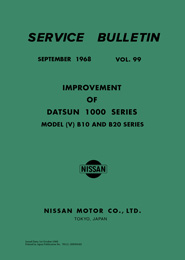 Service Bulletin - Vol. 99 - Improvement of Datsun 1000 Series