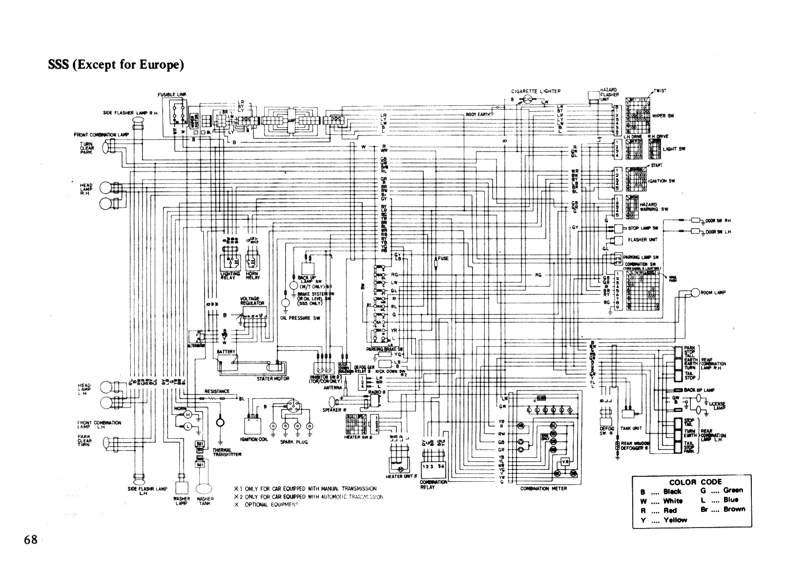 68 Wiring Diagram SSS (Except for Europe) datsun 610 (180b) owners manual 1974 (au) page 68 (100dpi datsun 280z wiring diagram at soozxer.org