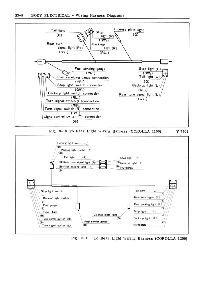 toyota corolla service manual - body - 1969  s3-08 - wiring harness diagrams